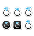 Wedding Diamond engagement ring icon vector image
