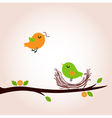 Cute spring birds building nest vector image vector image