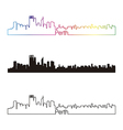 Perth skyline linear style with rainbow vector image