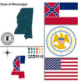 Map of Mississippi with seal vector image