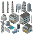 Collection of isometric industrial buildings vector