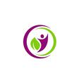 people eco leaf botany vegetarian logo vector image