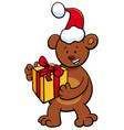 bear with gift on christmas time vector image
