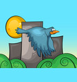 blue bird on the background of urban landscape vector image