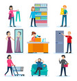 people in shop set vector image