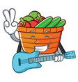 with guitar fruit basket character cartoon vector image