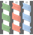 Three colored paper numbered banners vector image