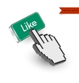 Green button with Like text and hand cursor vector image vector image