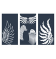 wings hand drawn cards animal feather pinion bird vector image