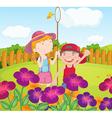 Kids catching butterflies at the garden vector image vector image