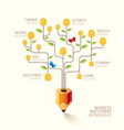 Infographic business pencil tree and coins flat li vector image