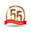 55 years anniversary experience gold label with vector image