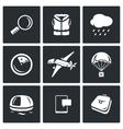 Search operation plane crash icons set vector image