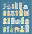 Winter buildings icons Skyscrapers and towers in vector image