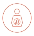Baby fetus in mother womb line icon vector image