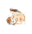 colored hand sketch nursing mother with baby vector image