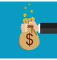 Flat background with hand and money bag vector image