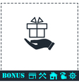 Gift present icon flat vector image