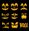 Orange halloween lighting pumpkin faces emotions vector image