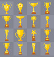 winner trophy gold cups flat icons for vector image