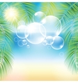 Bubbles above the sand beach and the palm branches vector image