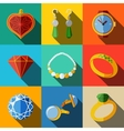 Jewelry colorful flat icons set with long shadow - vector image