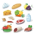 Common everyday food products Cartoon icons set vector image