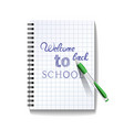 Back to school text on notebook page vector image