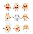 cute egg cartoon collection set vector image