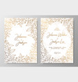 gold invitation with frame of leaves gold cards vector image