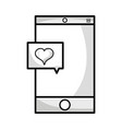 line smartphone technology with heart chat bubble vector image