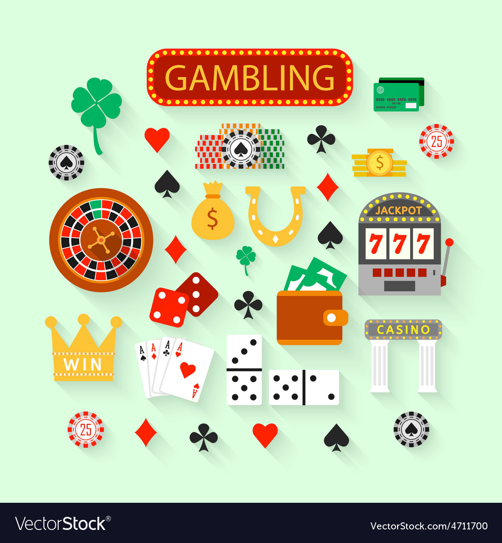 Gambling flat icons set vector