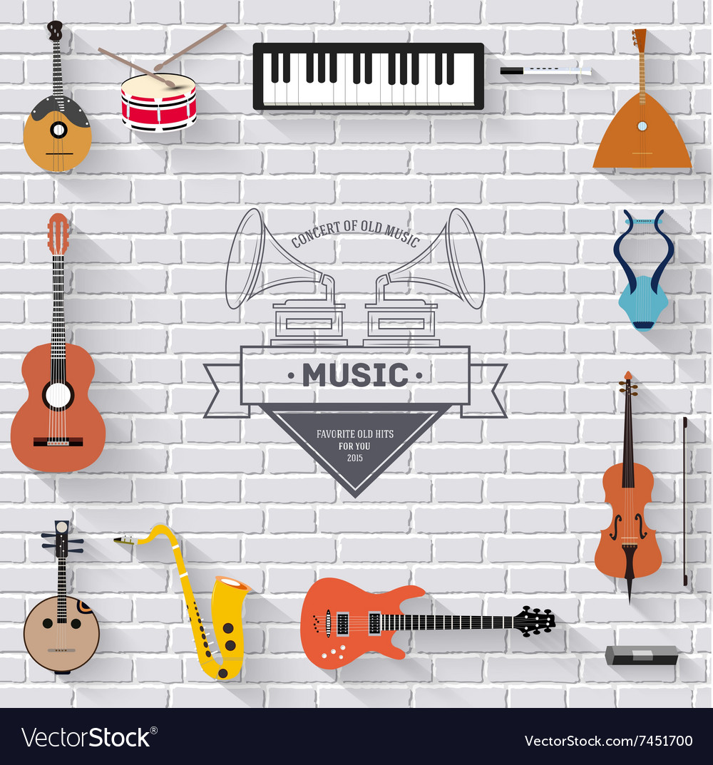 Music instruments on white modern brick wall vector