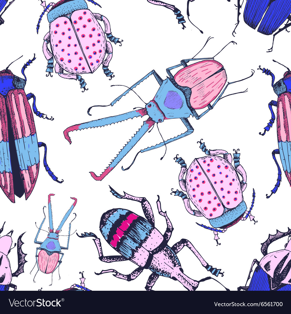 Nice beetle pattern vector