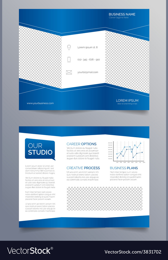 Business trifold brochure template  modern blue vector