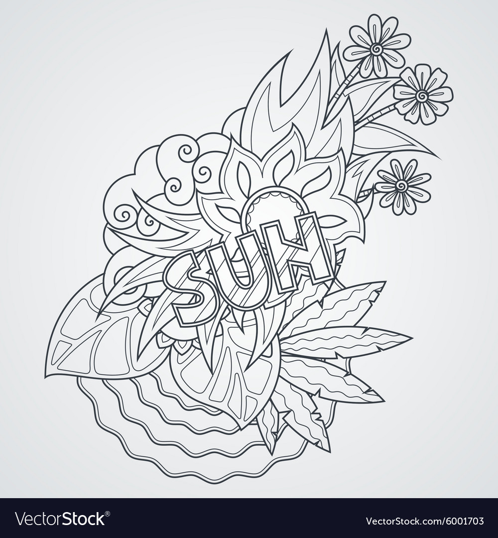 Label with sea sun leaves and flowers vector