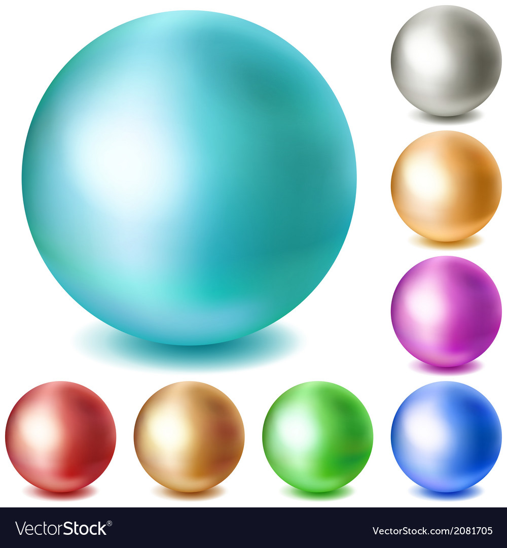 Set of multicolored matte spheres vector