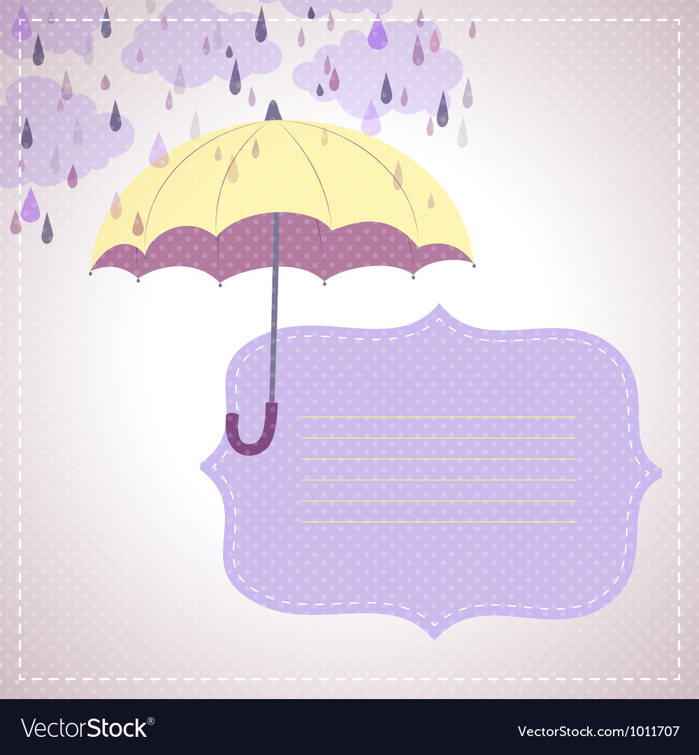 Background for messages with a yellow umbrella vector