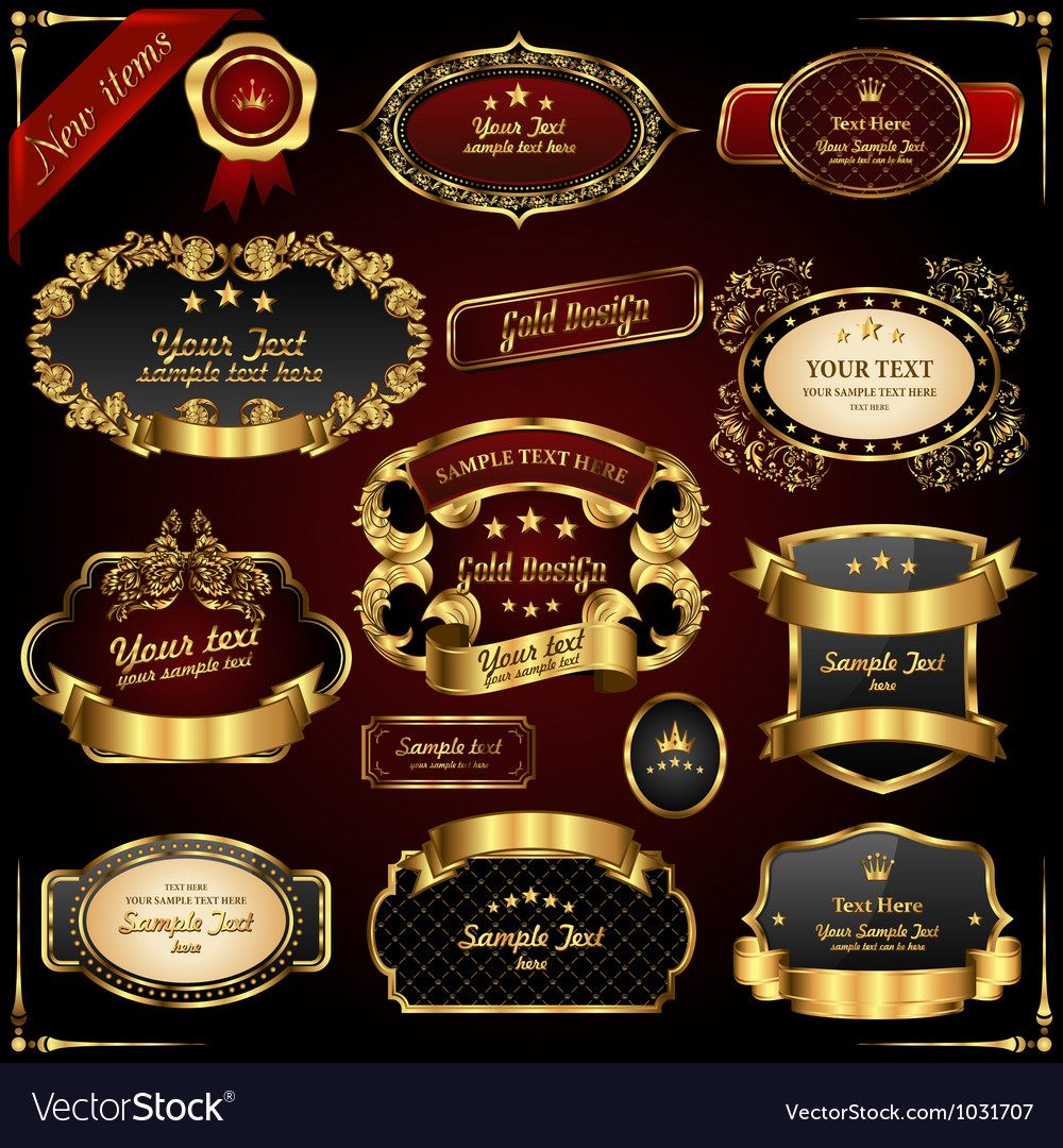 Retro gold frames vector