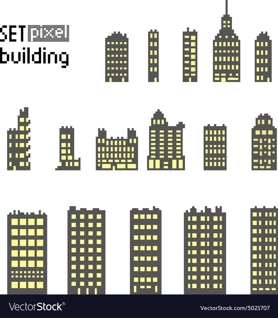 Set of pixel building skyscraper vector