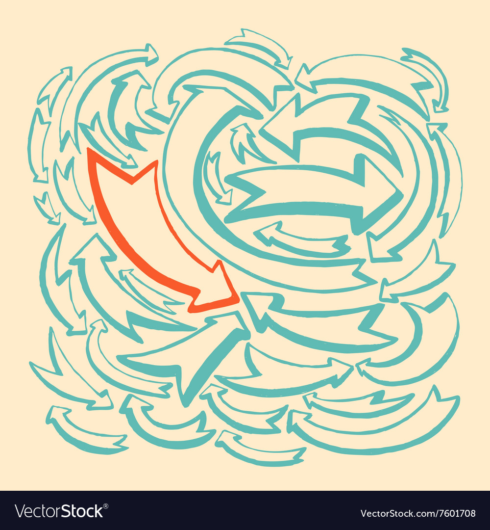 Arrows and directions hand drawn vector