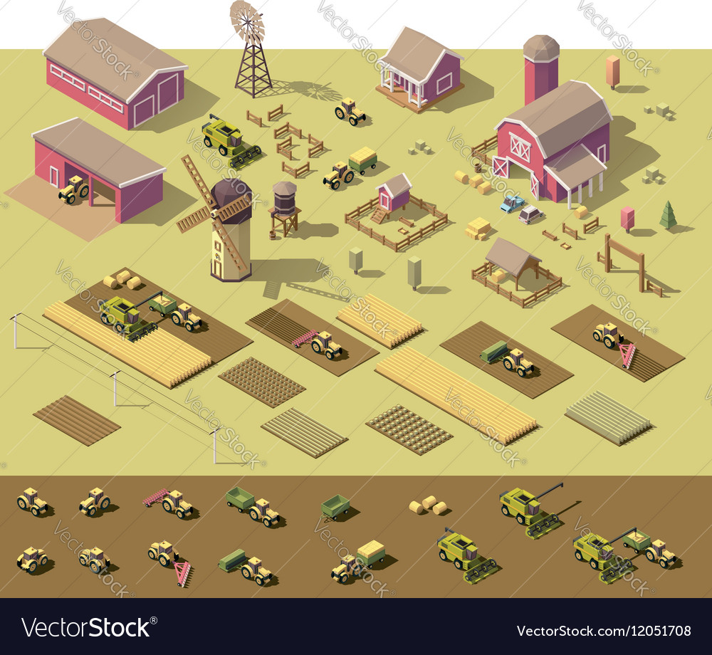 Isometric low poly farm elements vector