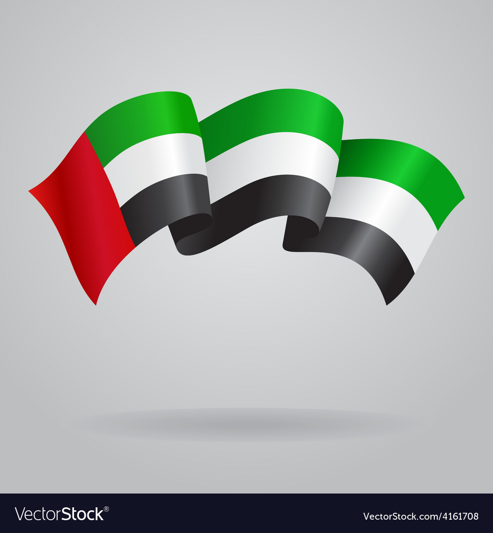 United arab emirates waving flag vector