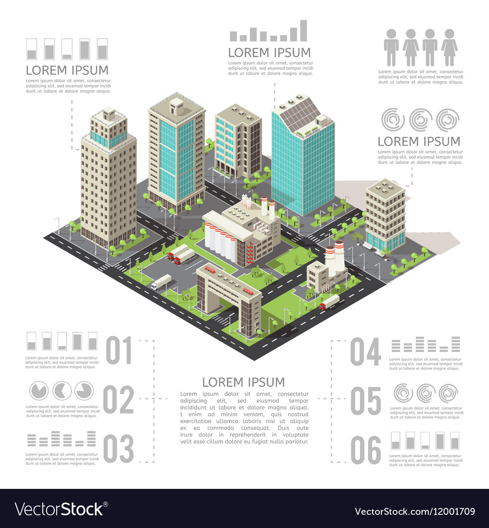 Office buildings isometric infographics vector