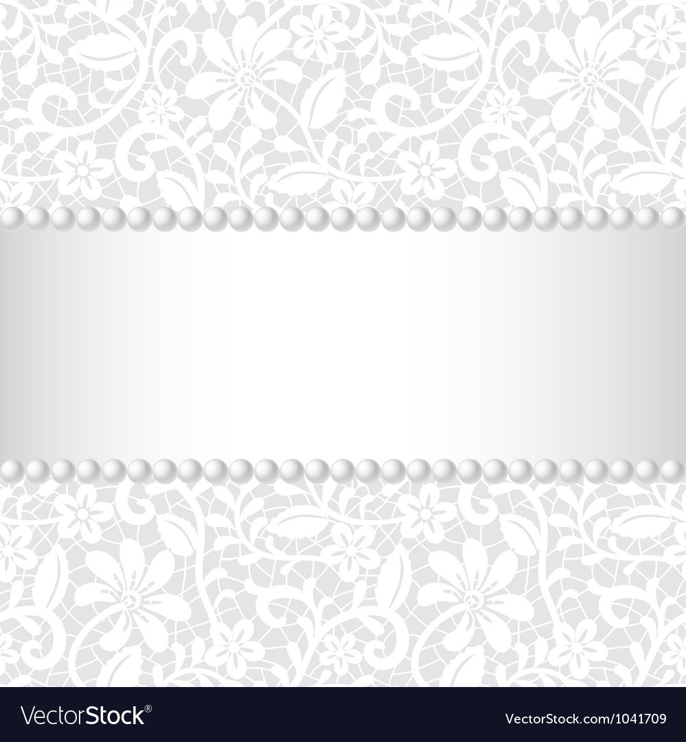 Wedding card with lace ribbon and pearl vector