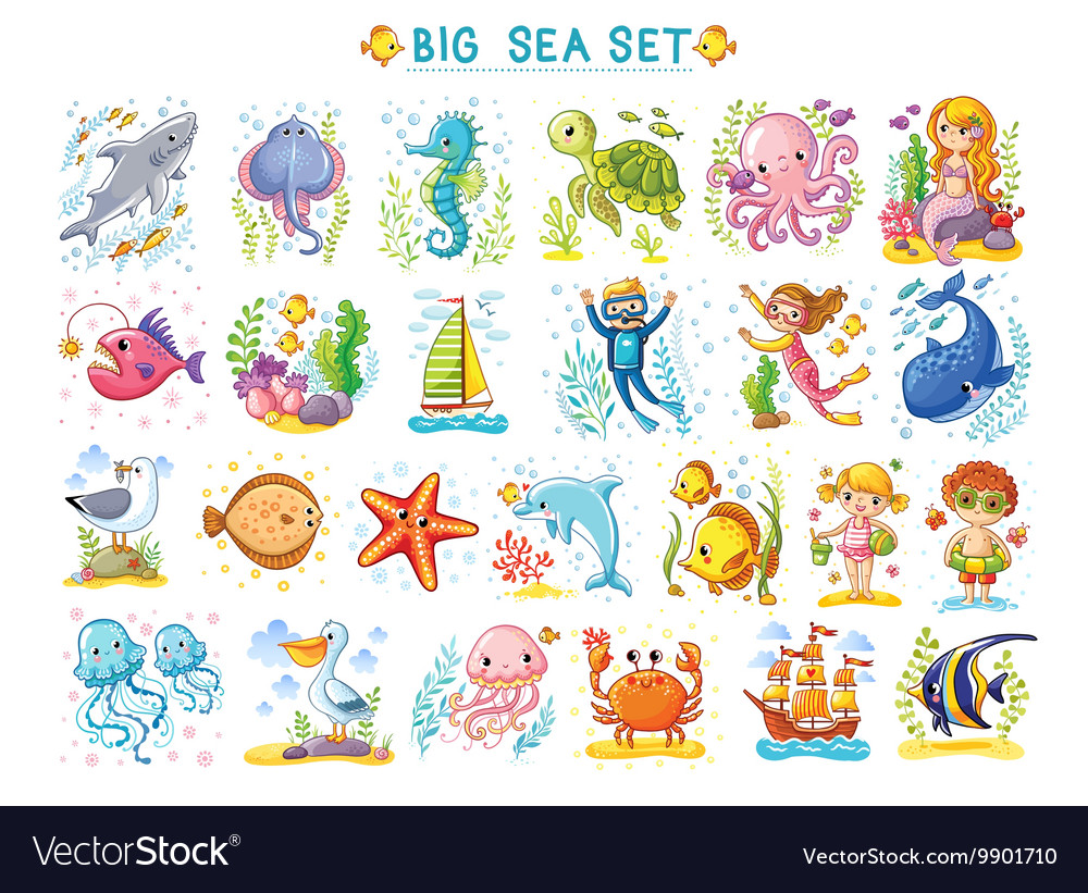Big marine set of on the theme vector