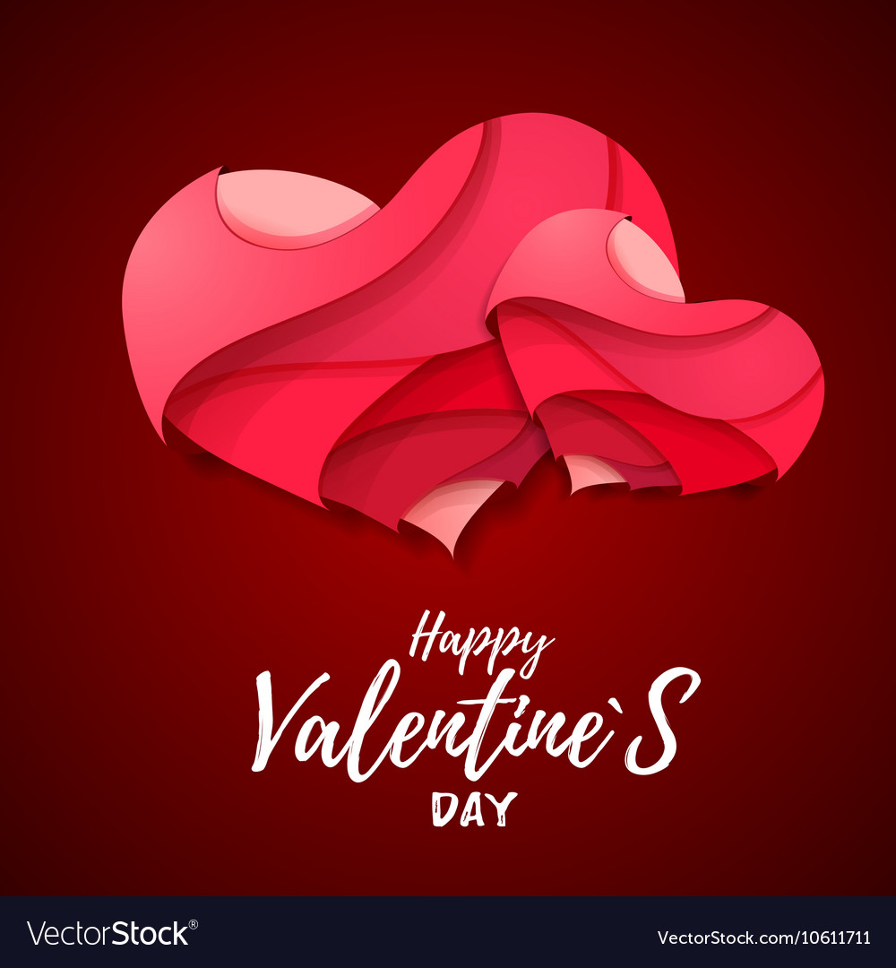 3d origami valentines heart valentines day vector