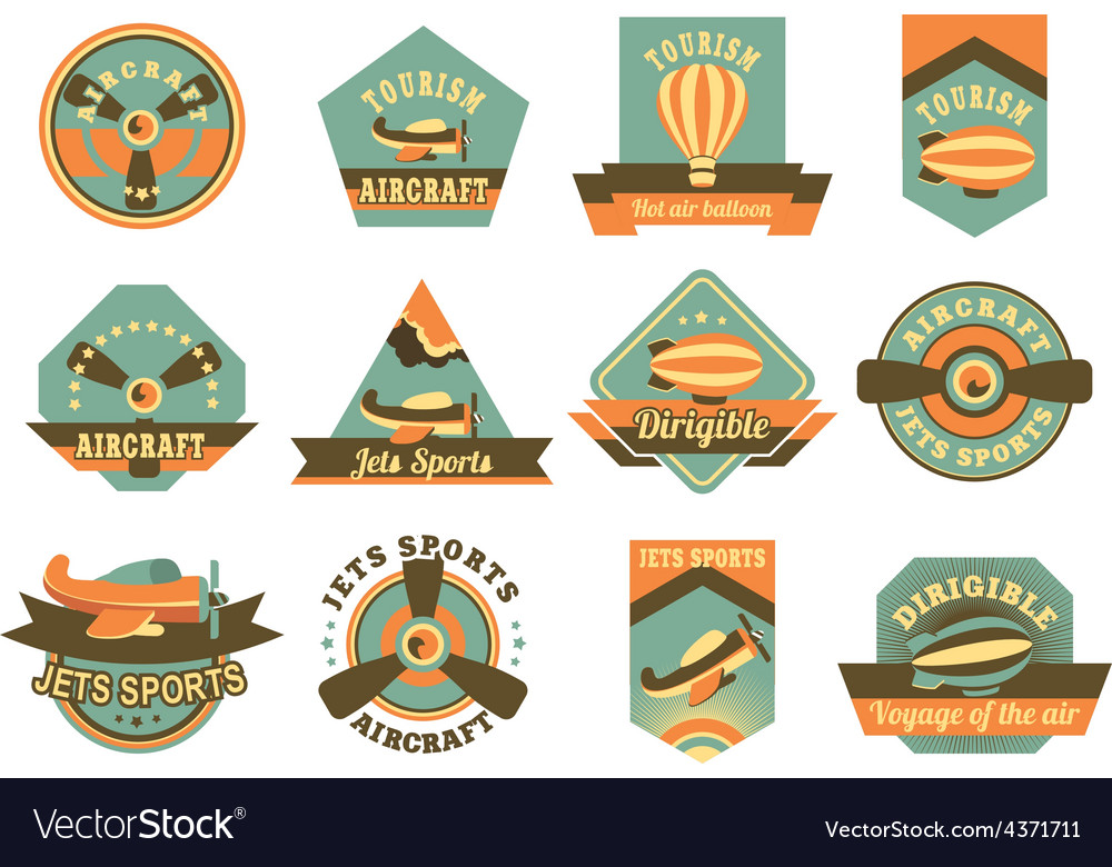 Aviation badges vector