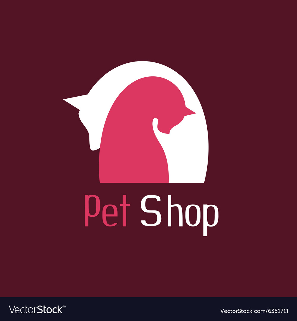 Cat and dog tender embrace sign for pet shop logo vector