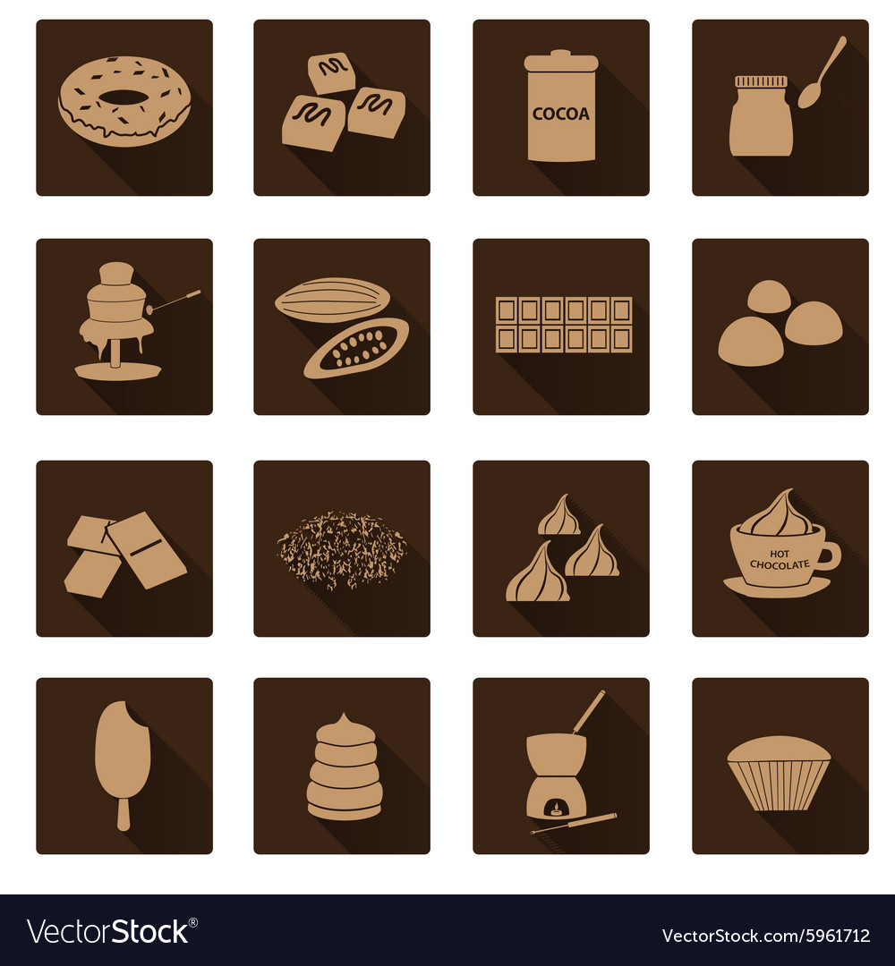 Brown chocolate simple flat shadow icons set eps10 vector